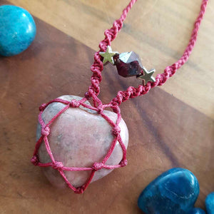 Rhodonite & Garnet Wrapped Pendant (hand crafted in NZ)