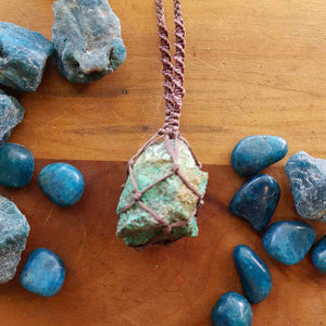 Raw African Turquoise Wrapped Pendant (hand crafted in NZ)