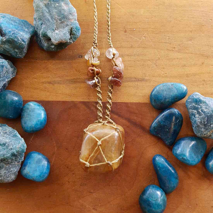 Golden Rutilated Quartz Wrapped Pendant (hand crafted in NZ)