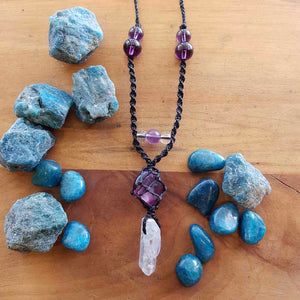 Purple Fluorite & Angel Aura Quartz Wrapped Pendant (hand crafted in NZ)