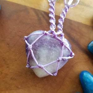 Lepidolite Heart & Glass Beads Wrapped Pendant (hand crafted in NZ)
