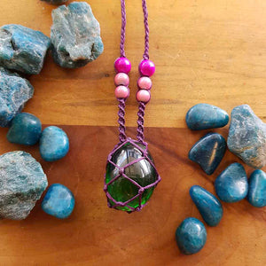 Green Obsidian & Miracle Beads Wrapped Pendant (hand crafted in NZ)