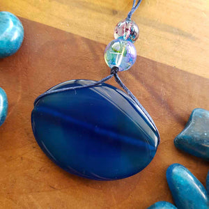 Dyed Blue Agate & Glass Bead Wrapped Pendant (hand crafted in NZ)