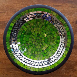 Green & Silver Mosaic Bowl (approx. 28cm diameter)