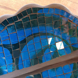 Blue Mosaic Leaf Bowl (approx. 30x26cm)