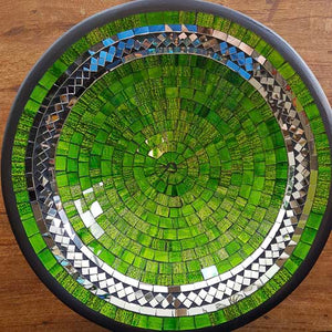 Green & Silver Mosaic Bowl