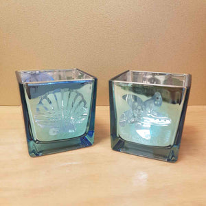 Blue Glass Beachy Tealight Candle Holders