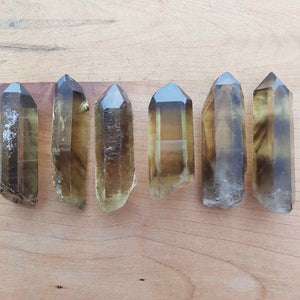 Natural Smokey Citrine Point with Heat Phantoms