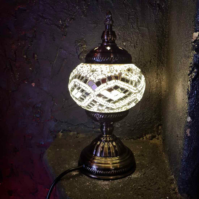 White & Silver Turkish Style Mosaic Lamp (pumpkin shaped. approx. 28.5cm)