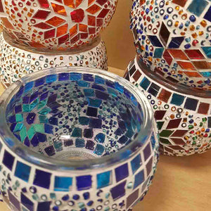 Colourful Turkish Mosaic Candle Holder (assorted. approx. 8x10cm)