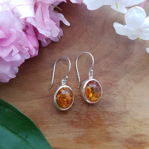 Amber Earrings (sterling silver)