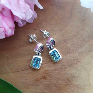 Amethyst & Blue Topaz Earrings (sterling silver)