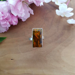 Brown Dyed Paua in Resin Ring (sterling silver)