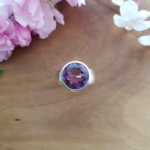 Amethyst Faceted Ring (sterling silver)