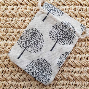 Cream Tree of Life Burlap Pouch