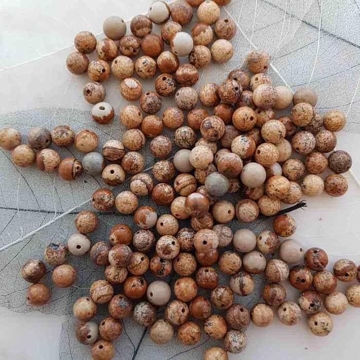 Picture Jasper Bead (assorted. round. approx. 8mm)
