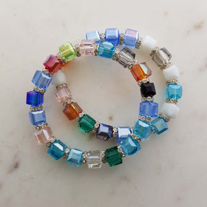 Colouful Square Glass Bead Bracelet with Charm