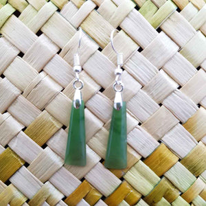 NZ Greenstone Wedge Earrings (sterling silver)