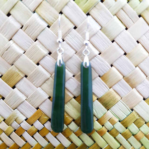 NZ Greenstone Pole Earrings (sterling silver)