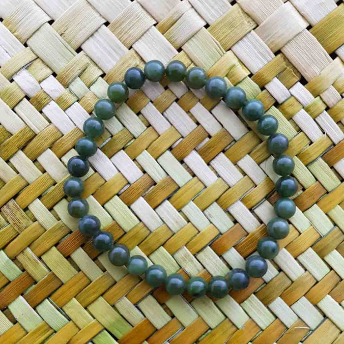 NZ Greenstone Ball Bracelet (approx. 6mm beads)