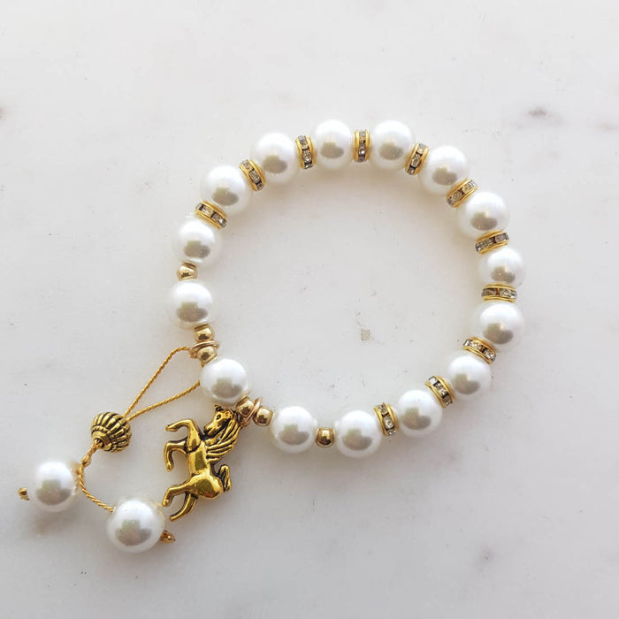 Faux Pearl Charm Bracelet (assorted charms)
