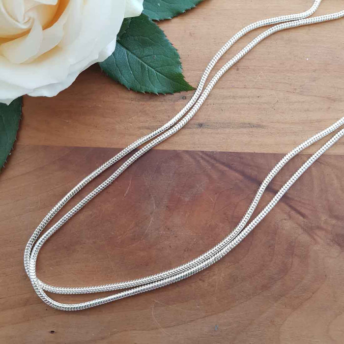 Rhodium Plated Sterling Silver 60cm x 3mm Snake Chain