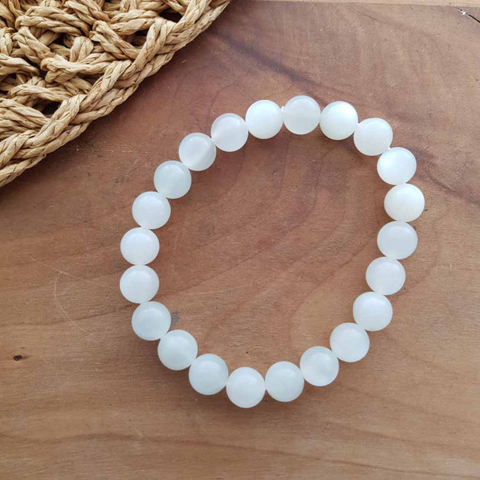 White Moonstone Ball Bracelet (assorted. approx. 9mm beads)