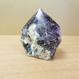 Rainbow Fluorite Point with Rough Cut Base (approx 9x6x4cm)