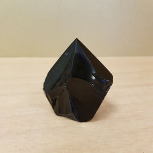 Black Obsidian Polished Point with Rough Cut Base