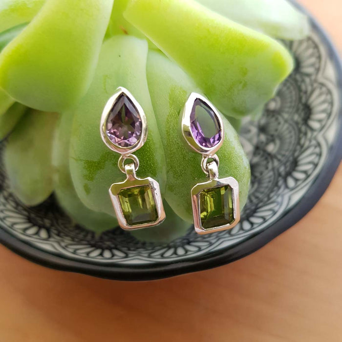Amethyst & Peridot Earrings (sterling silver)