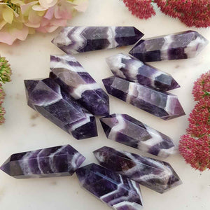 Chevron Amethyst Double Terminated Polished Point