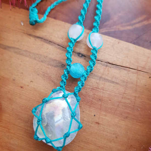 Rose Aura Quartz Wrapped Pendant (hand crafted in NZ)