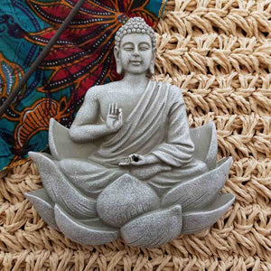 Grey Lotus Buddha Incense Holder