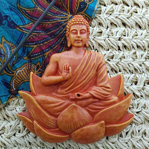 Orange Lotus Buddha Incense Holder