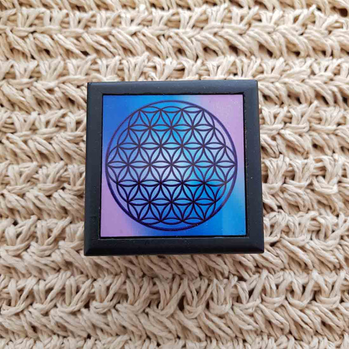 Flower of Life Ceramic & Wood Box (approx.6x6x4cm)