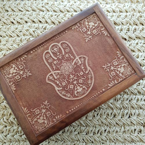 Hamsa Hand Carved Wooden Box (approx. 6x18x12.5cm)