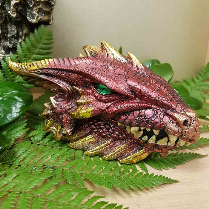 Red & Gold Dragon Head Trinket Box (approx. 19x10.5x10cm)
