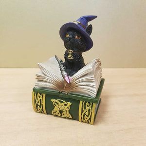 Black Cat Spellbook Trinket Box