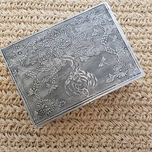 Tree Of Life White Metal Box (approx. 18x13.5x5.5cm)