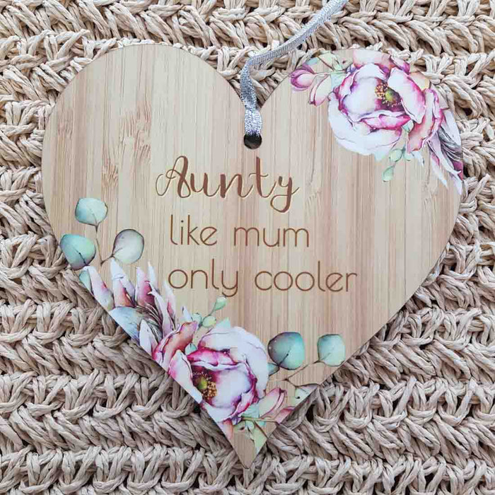 Aunty Like Mum Only Cooler Heart Wall Plaque (approx. 15x15cm)