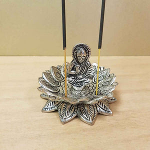 Buddha in Lotus Aluminium Incense Holder