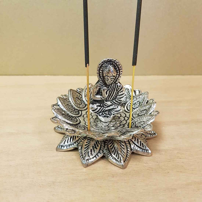 Buddha in Lotus Aluminium Incense Holder (approx. 8.5x6.5cm)