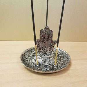 Hansa Hand in Round Aluminium Incense Holder
