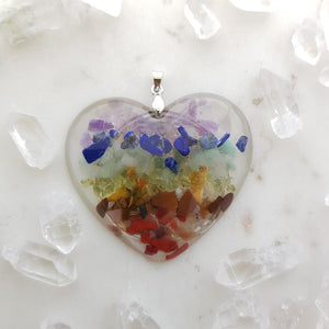 Resin Heart Pendant with Crystal Chips Inside & Symbol on Back