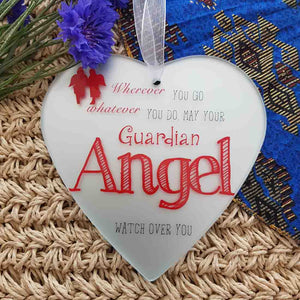 Guardian Angel Heart Glass Plaque