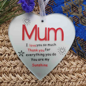 Mum Heart Glass Plaque