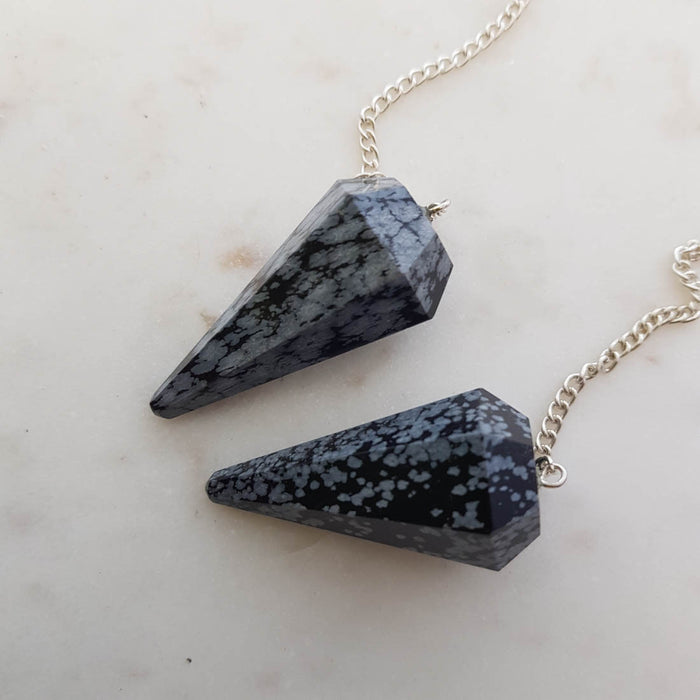 Snowflake Obsidian Faceted Pendulum (assorted)