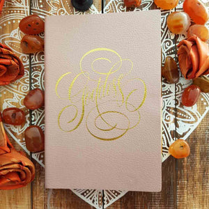 Goddess Journal with Gold Pen Dusky Rose Leather Look