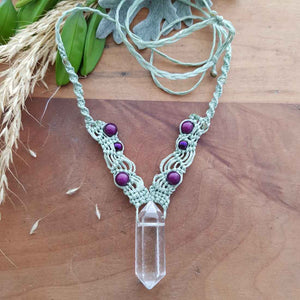 Clear Quartz & Miracle Bead Wrapped Pendant