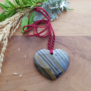 Tiger Iron Heart Wrapped Pendant
